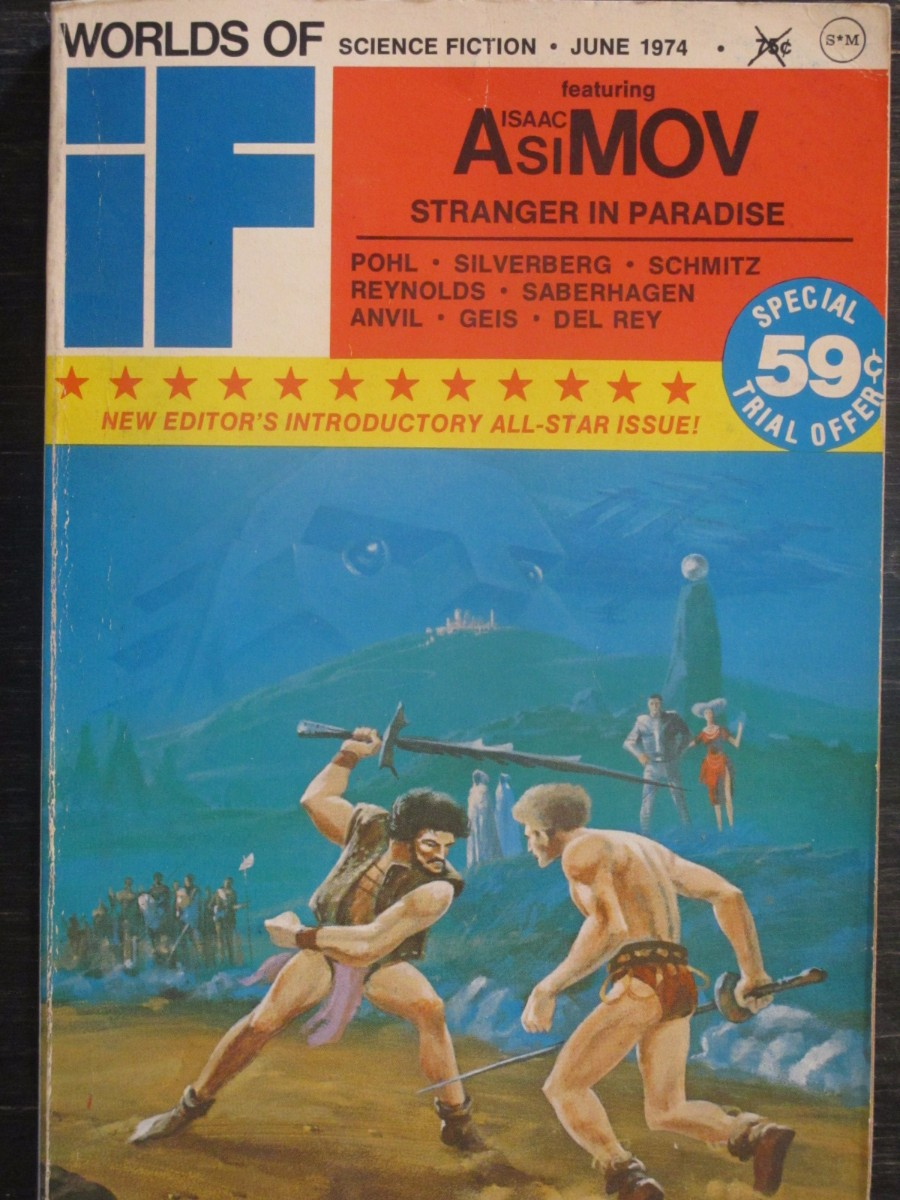 Worlds of If Science Fiction Magazine June 1974 Isaac Asimov Stranger in Paradise