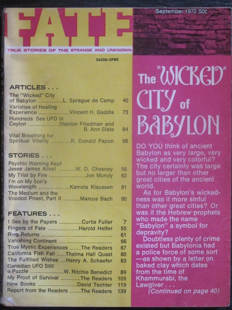 Fate Magazine September 1972 Wicked City of Babylon