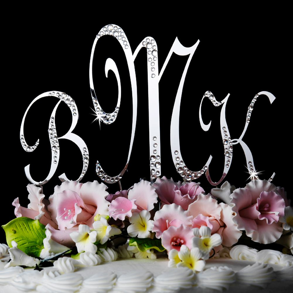 Silver Initial LETTER or NUMBER Cake Topper w/ swarovski crystals