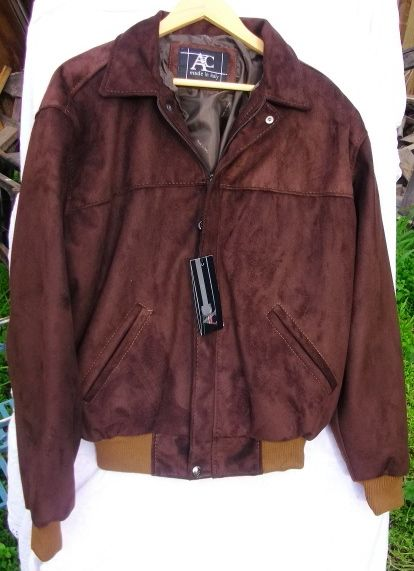 Bnwt Ac Made Italy Rich Tan Brown Suede Fabric Velour Jacket Quality