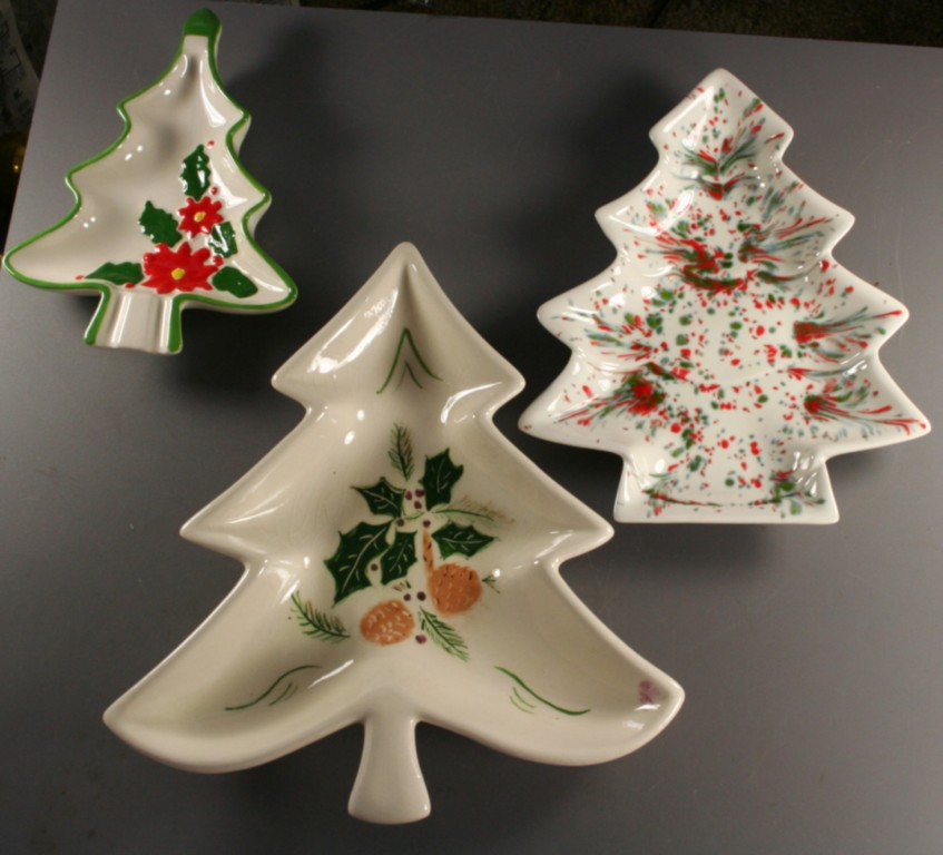 vintage ceramic, plates,tree shape, hand decorated