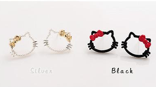 Chic-Hot-Sell-Cutout-Red-Bowknot-HelloKitty-Cat-Ear-Stud-Earrings-2-Colors