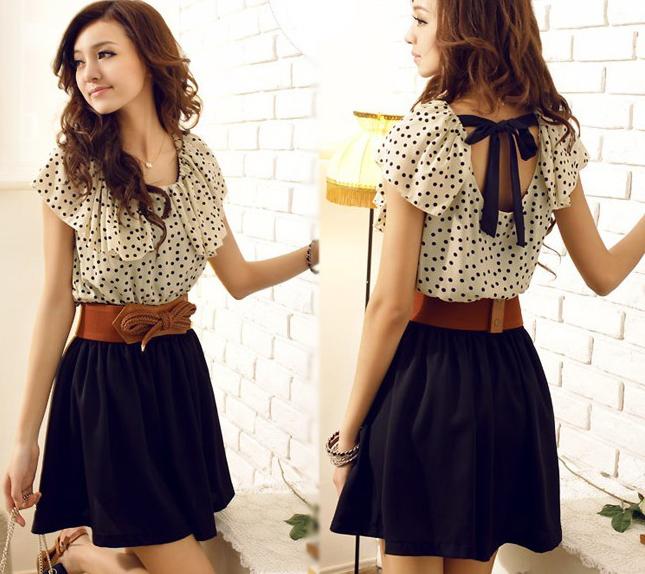 Stylish-Womens-Summer-Short-Sleeve-Chiffon-Dots-Polka-Waist-Top-Mini-Dress