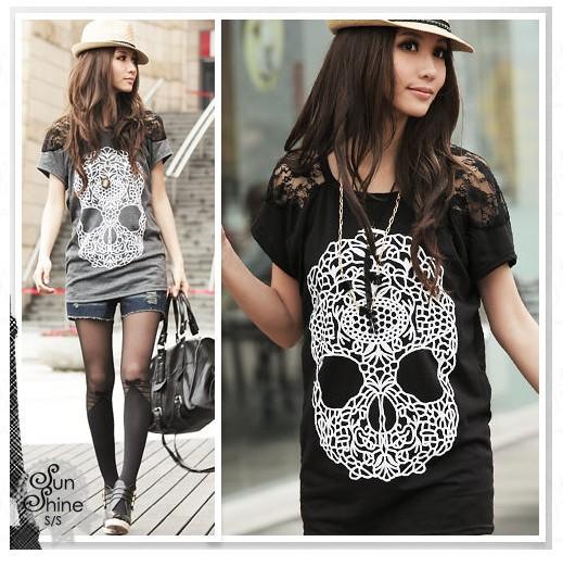 Korean-Girl-039-s-Skull-Prints-Lace-Sleeve-Blouses-Cool-Tops-Women-039-s-Loose-T-Shirt