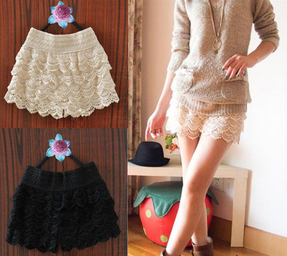 New-Women-039-s-Fashion-Lace-Tiered-Mini-Skirt-Under-Safety-Pants-Beige-Black-Shorts