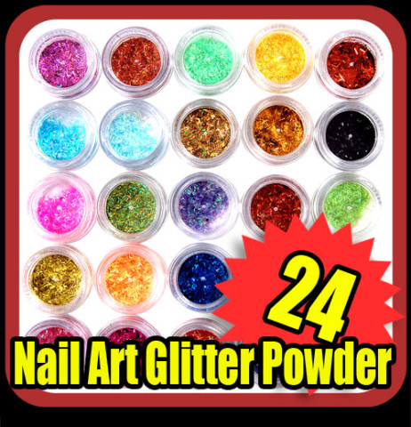 Details about 24 nail art colorful shiny glitter decoration tips S118