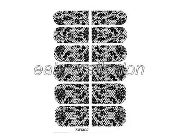 1pcs Stickers Nail Art Design Black Flower Pattern Wraps Foil Decal