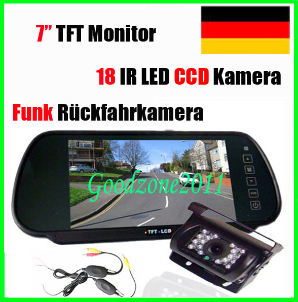 funk kabellos ccd r ckfahrkamera 7 auto monitor spiegel r ckansicht set ebay. Black Bedroom Furniture Sets. Home Design Ideas