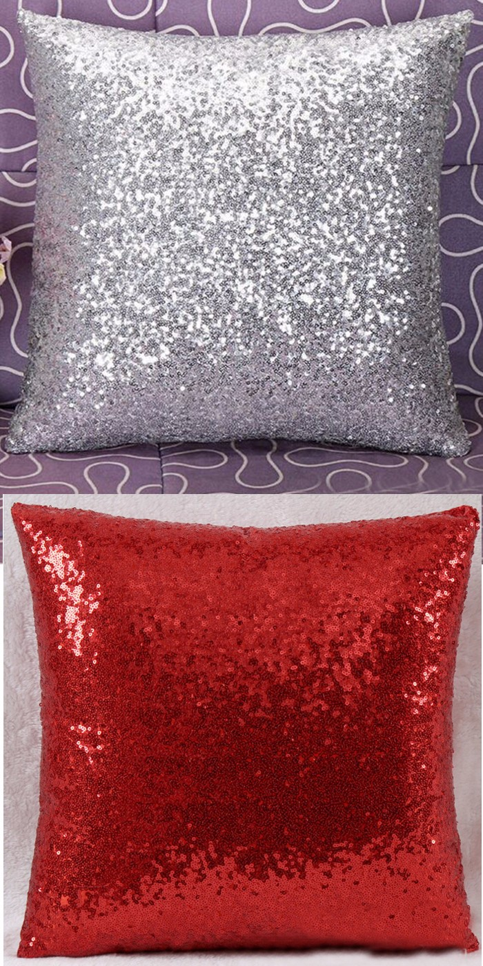 new glitter solid sequins throw pillow case lounge cafe decor