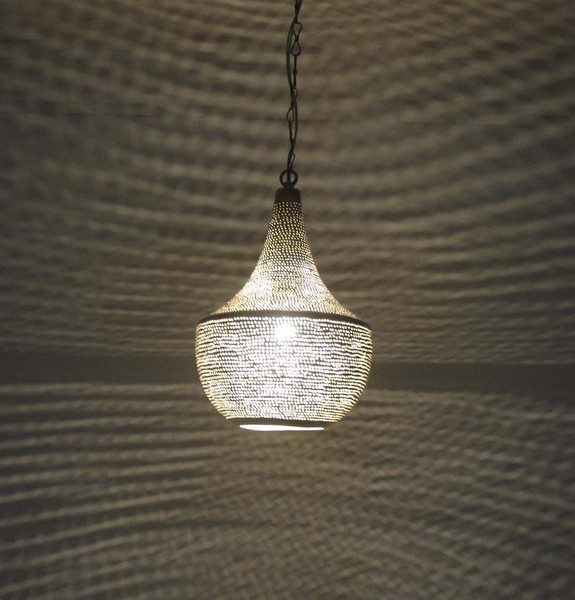 Hanging Lamp Moroccan: Handcrafted Moroccan Silver Plated Brass Hanging Lamp
