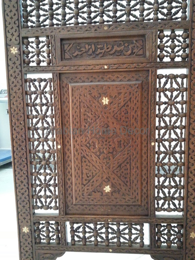 Vintage hand carved syrian wood room divider panels