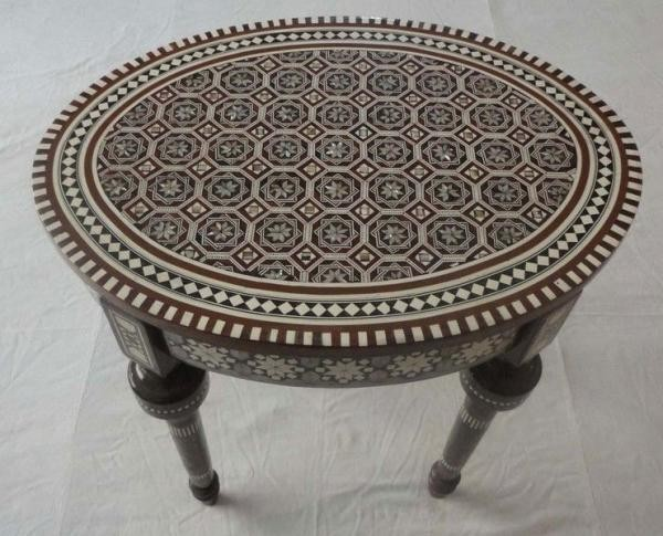 Egyptian Moroccan Mother Of Pearl Inlaid Mosaic Oval Coffee Table