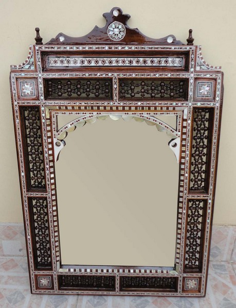 Egyptian Mother Of Pearl Inlay Wood Wall Mirror Frame