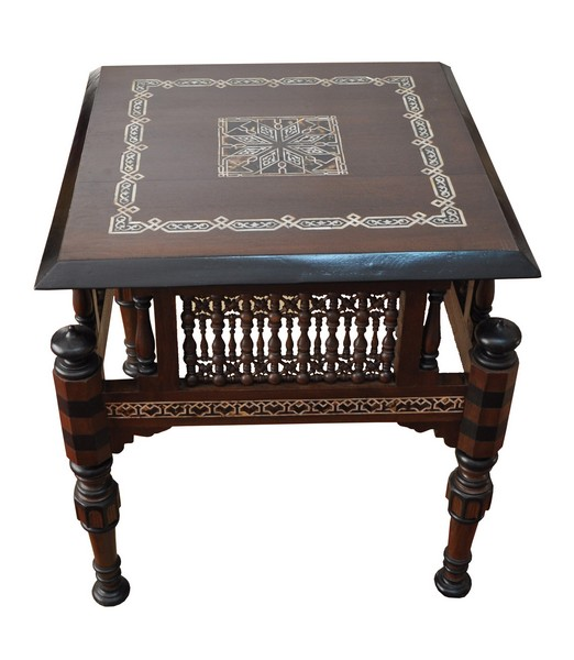 Moroccan Mother Of Pearl Inlay Square Wood Coffee End Table Ebay