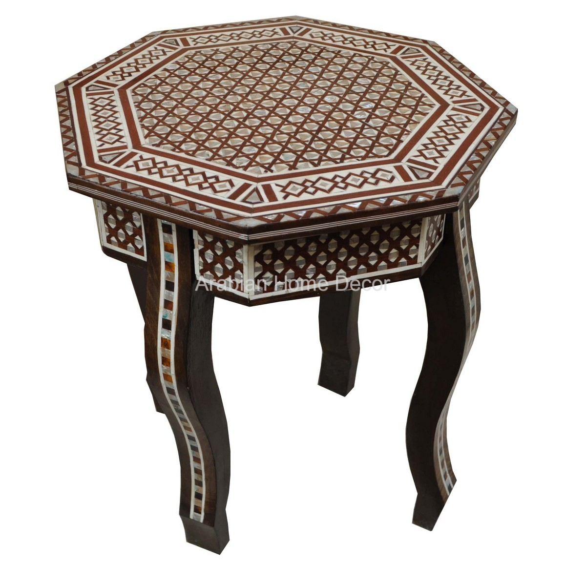 Egyptian Syrian Mother Of Pearl Inlay Octagonal Wood Side Coffee Table