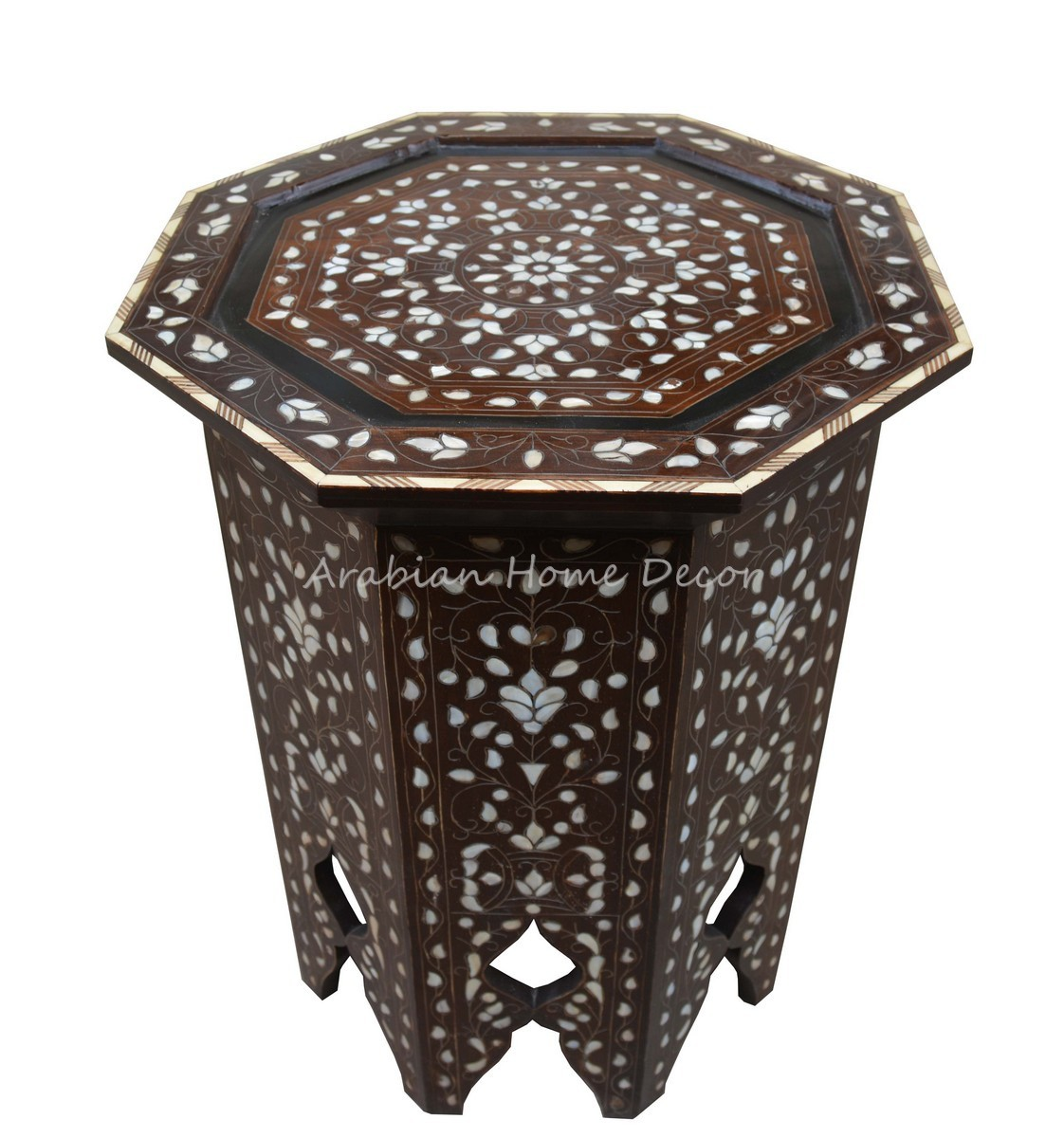 Unique Vintage Mother Of Pearl Inlaid Syrian Moroccan Wood Side Coffee Table Ebay