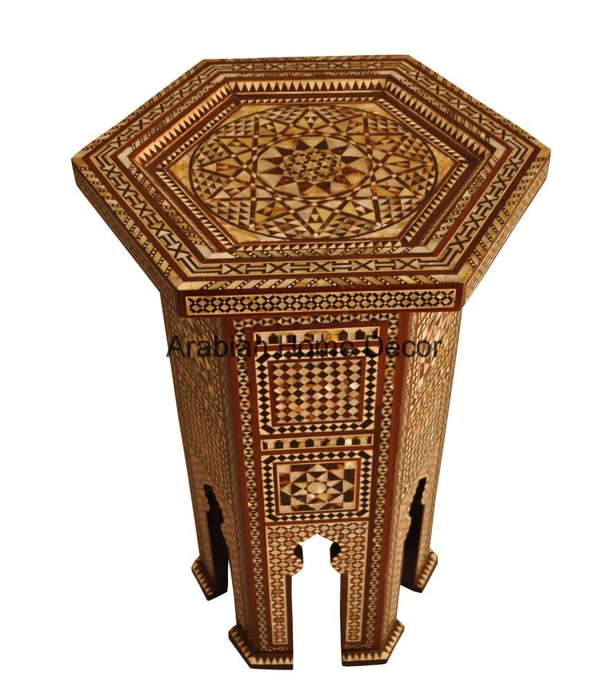 Egyptian Moroccan Ottoman Mother Of Pearl Inlay Wood Side Coffee Table