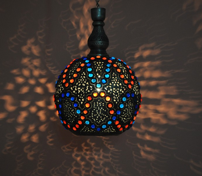 Hanging Lamp Moroccan: Handcrafted Moroccan Brass Jeweled Pendant Light