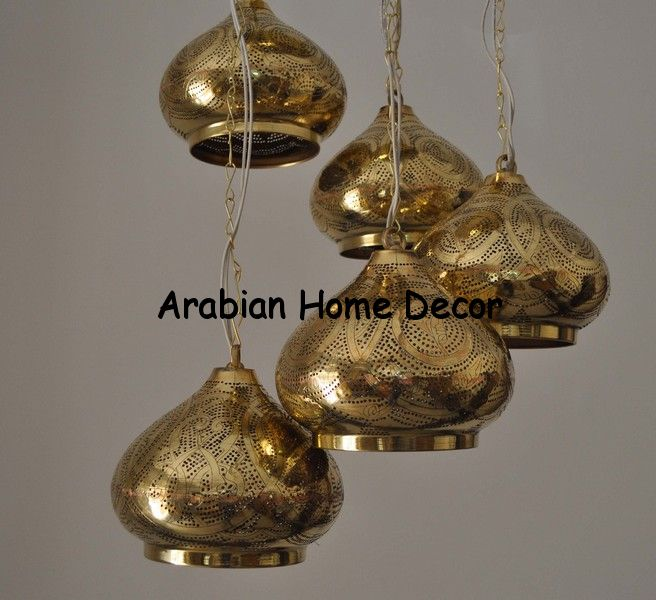Moroccan Ceiling Light: 5 in 1 Moroccan Brass Ceiling Light Fixture / Hanging Lamp / Chandelier,Lighting