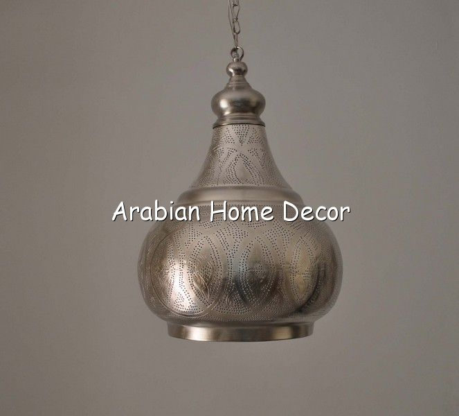Hanging Lamp Moroccan: Moroccan Silver Plated Brass Pendant Lighting / Hanging