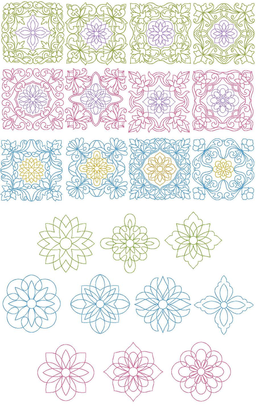 English quilt blocks machine embroidery designs
