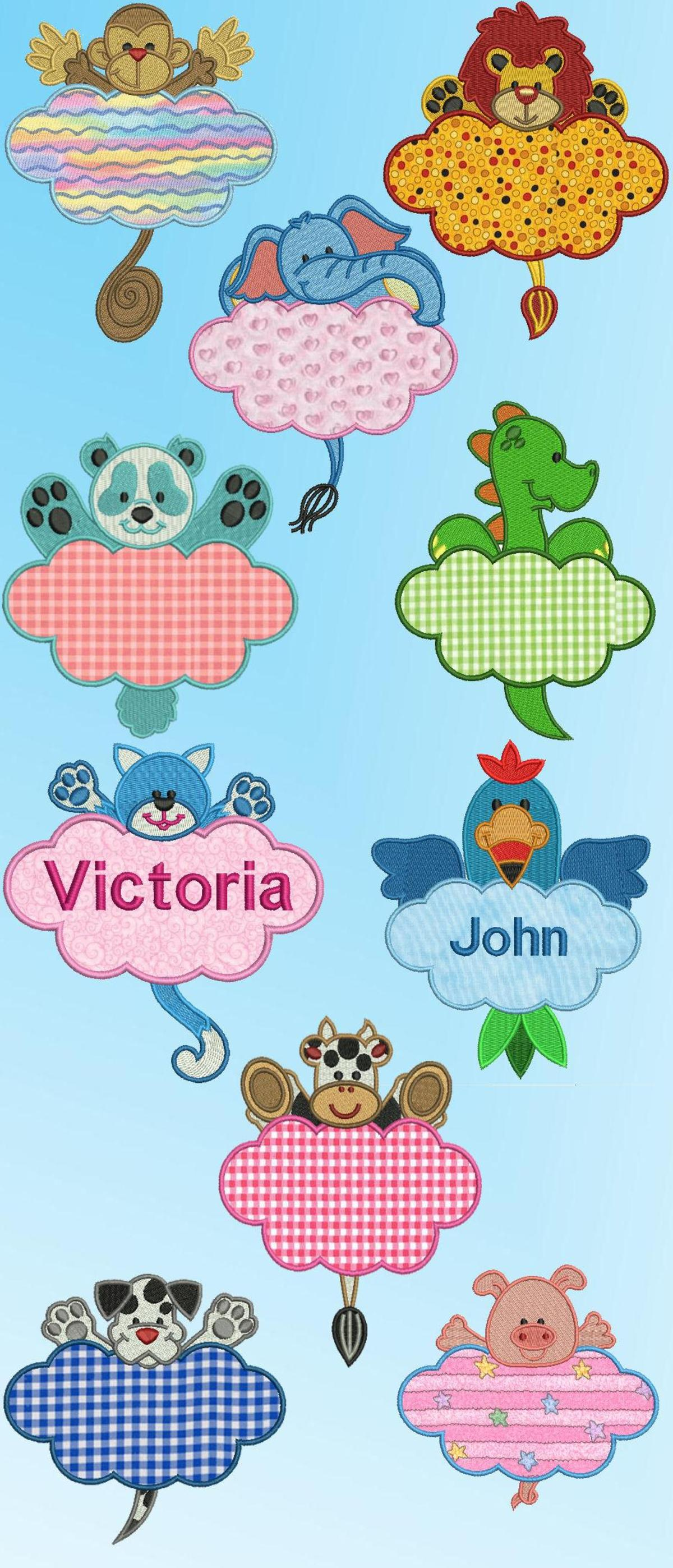 Cute critter name tags applique machine embroidery designs