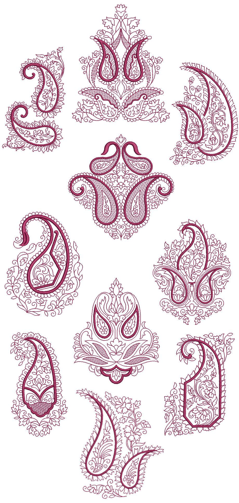 Janome Quilting Embroidery Designs : Paisley Redwork Quilt Blocks Machine Embroidery Designs CD 5x7 Brother, Janome eBay