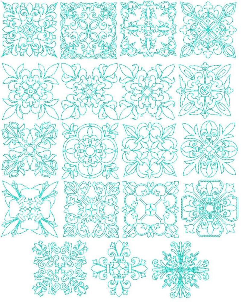Exotic quilt blocks machine embroidery designs