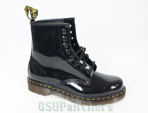 dr doc martens 1460 patent ler black shiny boots
