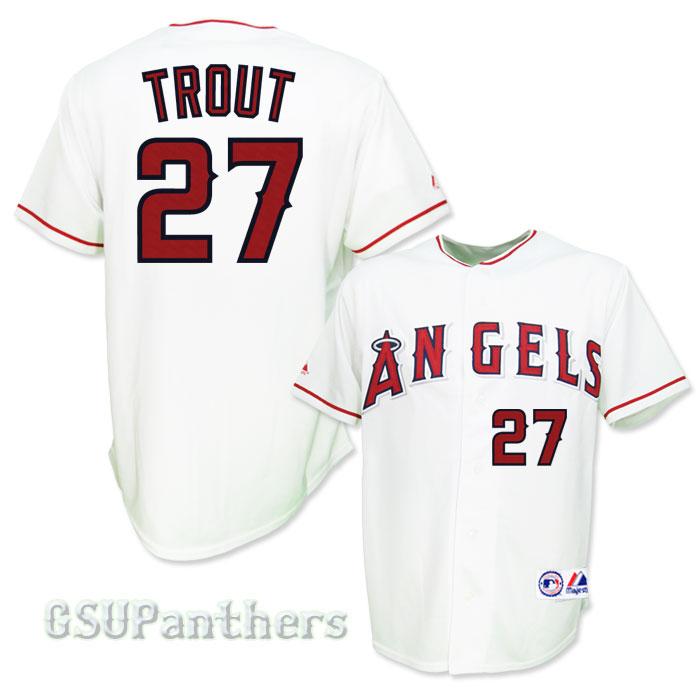 Mike Trout La Anaheim Angels Home Sewn Mens Replica Jersey Sz M 2XL