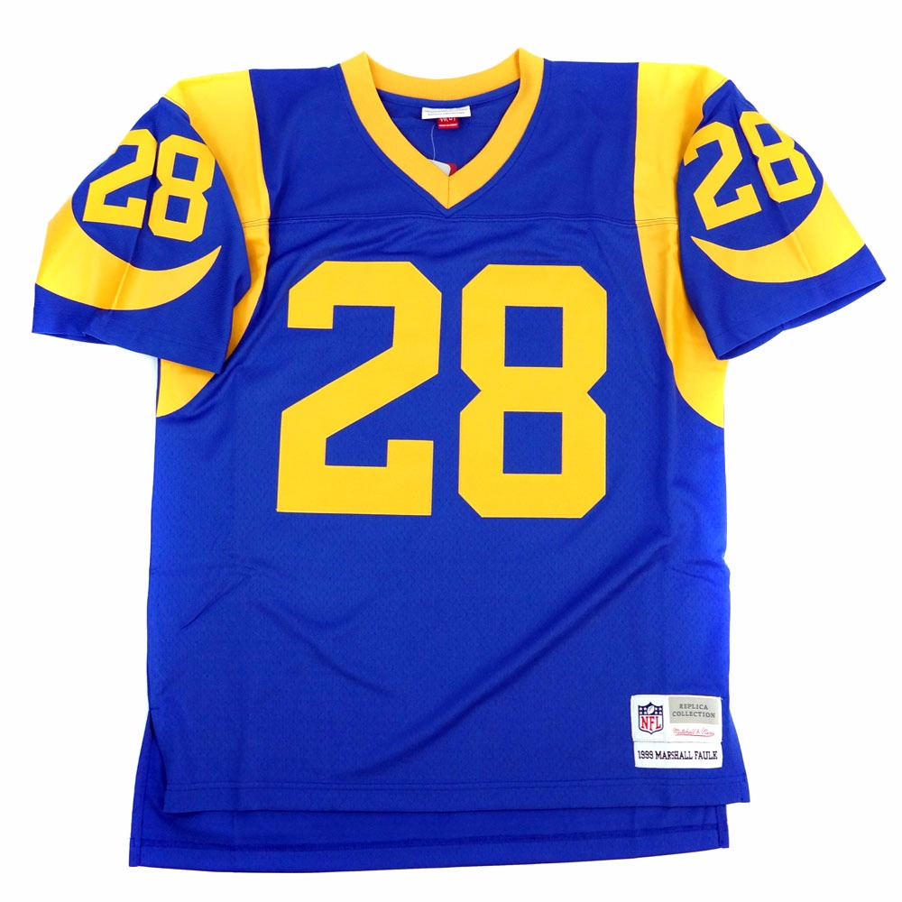 NFL Jersey's Mens St. Louis Rams Marshall Faulk Mitchell & Ness Royal Blue/Yellow 1999 Retired Player Vintage Replica Jersey