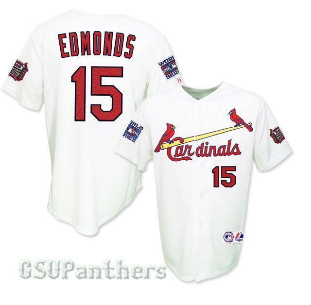 Jim Edmonds 2006 St Louis Cardinals World Series Home Jersey Sz M 2XL