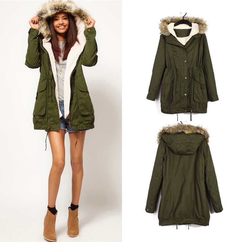 Women Thicken Faux Fur Coat Hooded Parka Jacket Outwear Sweater UK ...