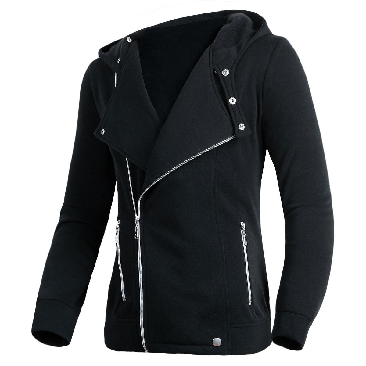 Mens Slim Fit Long Sleeve Slant Zip Hooded Hoodie Coat Sweater ...