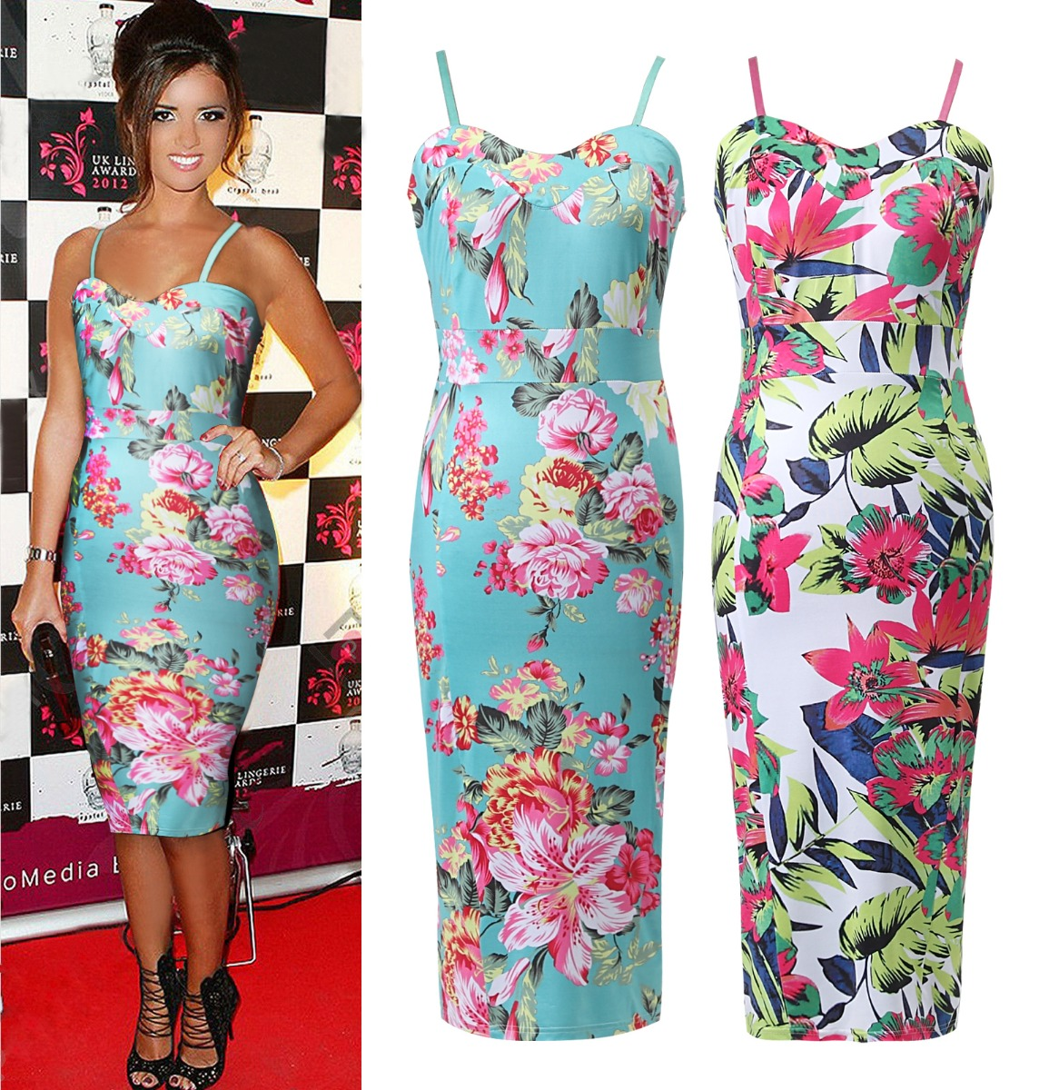 Summer Womens New Celeb Floral Tropical Print Ladies Bodycon Midi ...