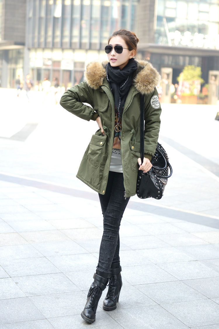 Lady Military Parka Winter Warm Thicken Fleece Trench Hooded Coat ...