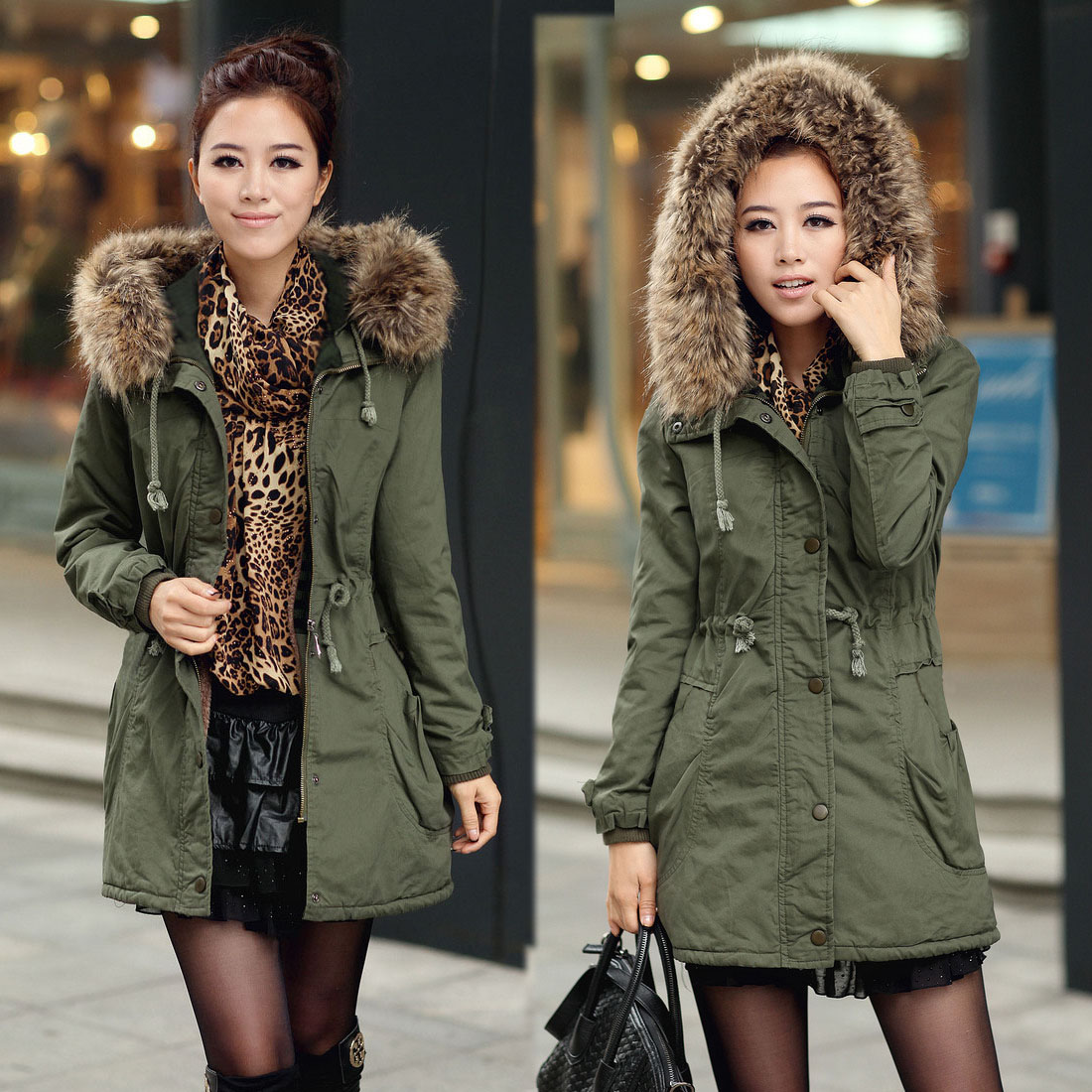 New Womens Ladies Faux Fur Hooded Jacket Warm Winter Zip Up Parka