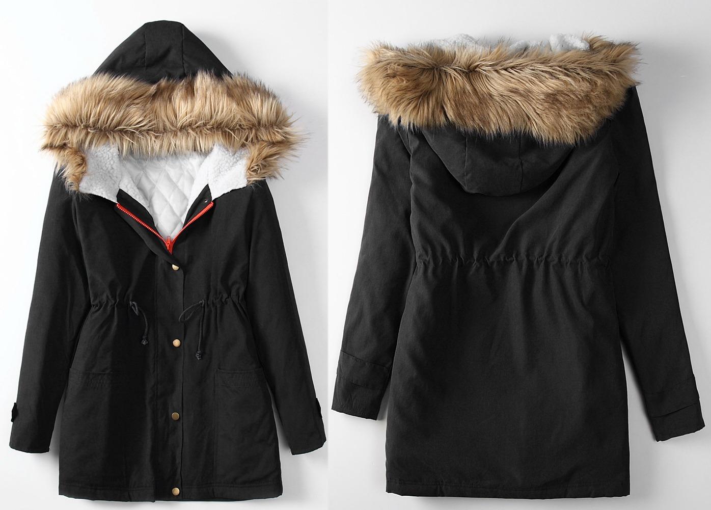 NEW Womens Winter Warm Fur Collar Coat Parka Fleece Trench Hooded