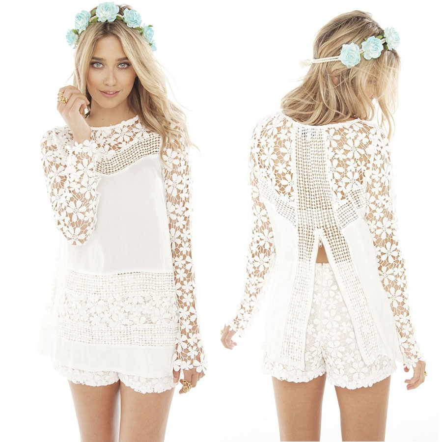 2015 Boho Hippie Club Sexy Ladies Chiffon Crew Lace Slim Long Tops Short Dress