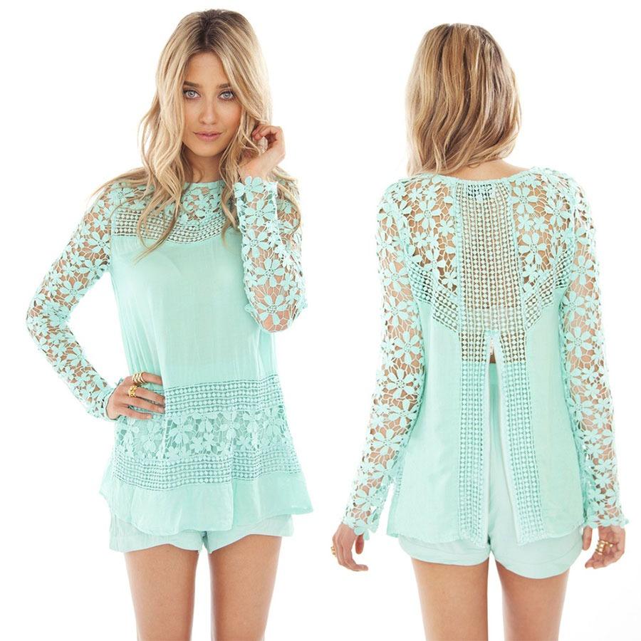 2015 Boho Hippie Club Sexy Ladies Chiffon Crew Lace Slim Long Tops Short Dress