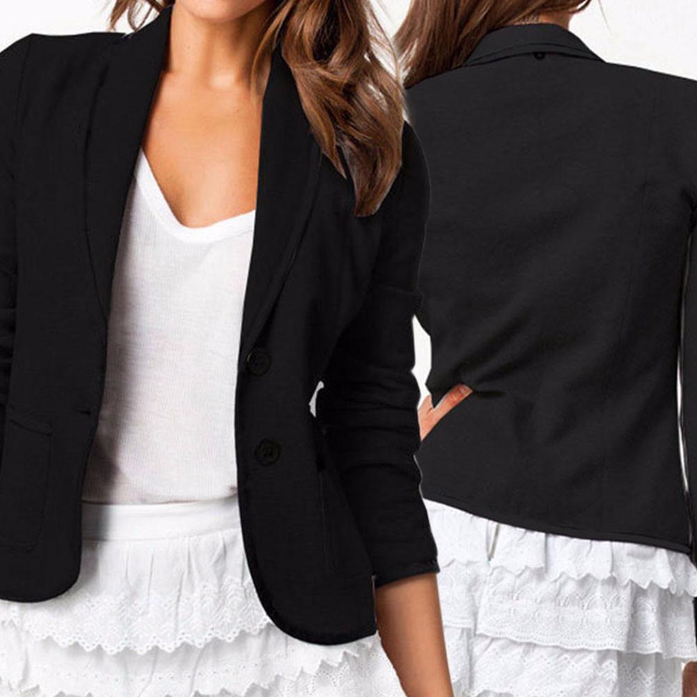 Casual Womens Long Sleeve OL Jackets Blazer Short Suit Coat Slim Outwear Top