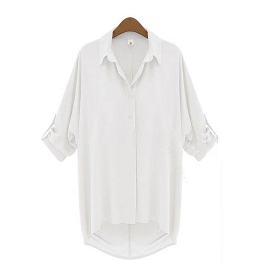 Women 39 s button down chiffon short sleeve loose casual tops for 6xl button down shirts