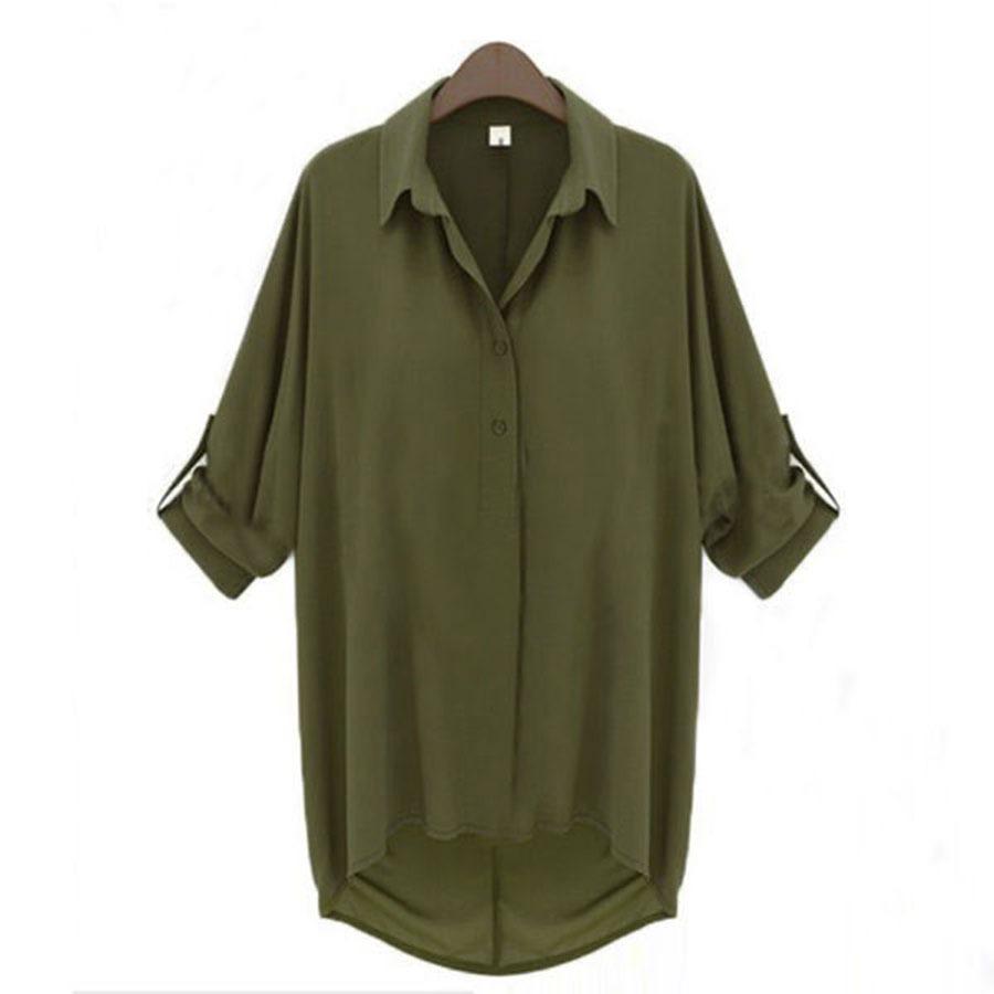 HOT Women Casual 3/4 Sleeve Down Collar Loose Chiffon T-Shirt Tops Blouse S-6XL