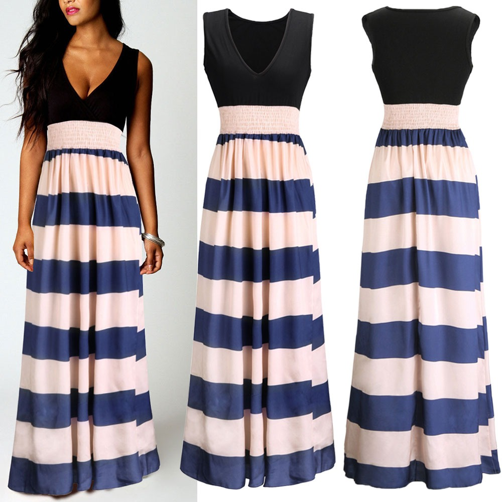Formal Ladies Cocktail Evening Ball Gown Long STRIPED Bodycon Shirt Maxi Dress