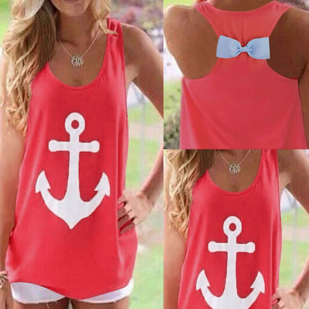 2015 New Womens Bowknot Backless Vest Top Summer Blouse Casual Tank Tops T-Shirt