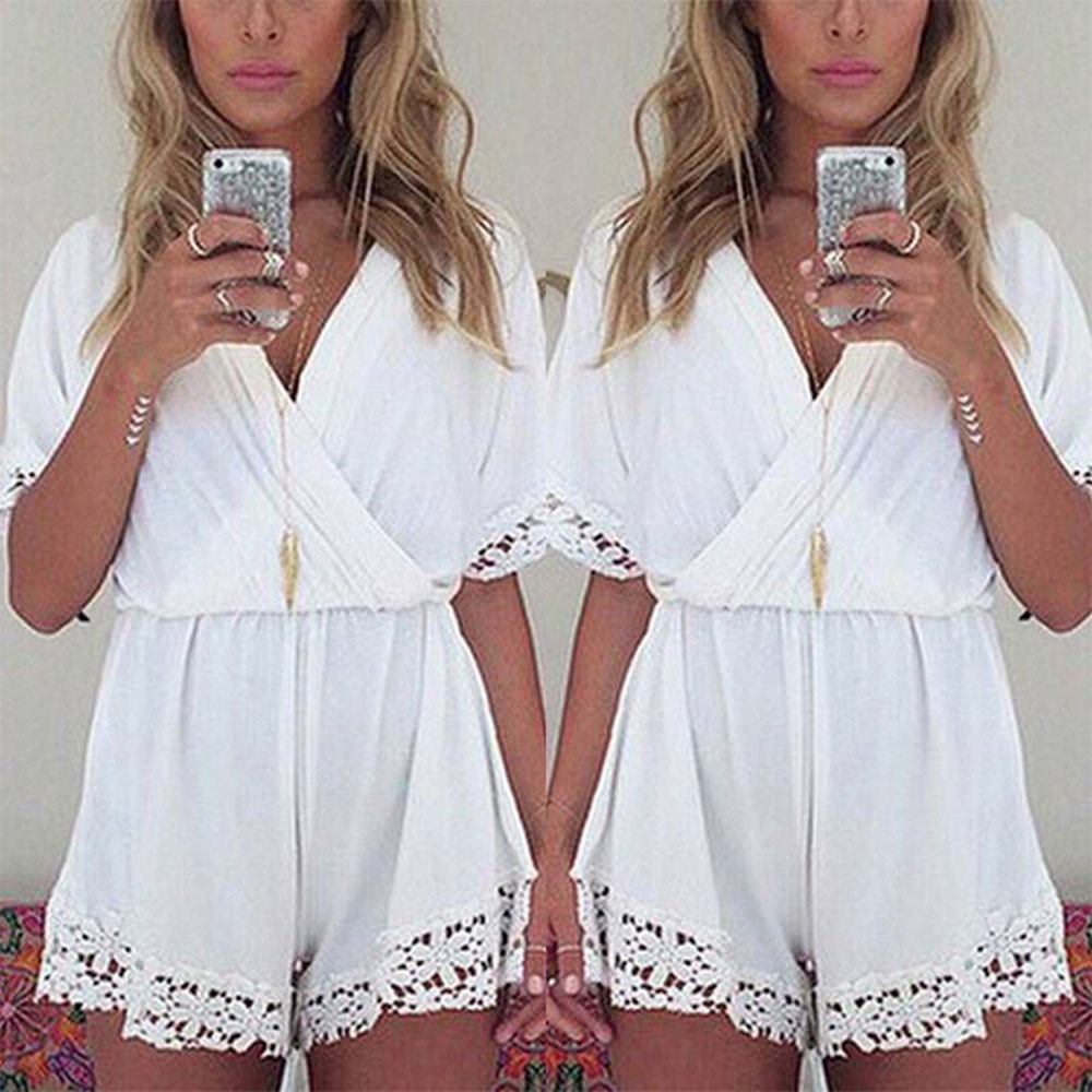 BOHO Ladies Lace Evening Cocktail Party Playsuit Shorts Summer Beach Jumpsuit