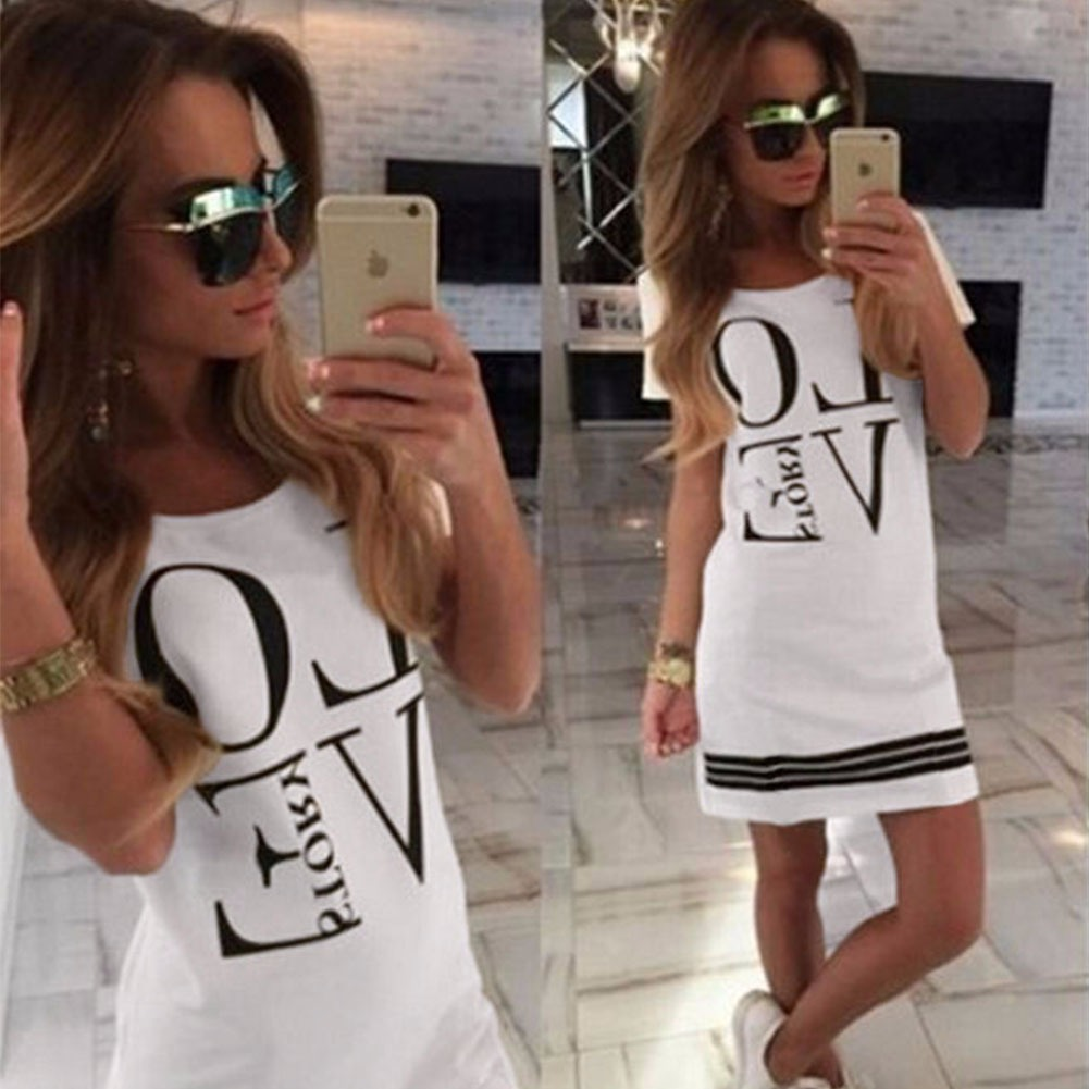 Women Summer Slim Love Print Casual Cocktail Party Evening Club Short Mini Dress