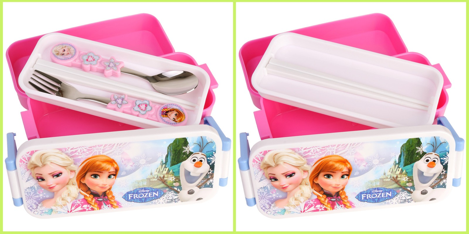 disney frozen lunch box kids girl school cute bento w fork spoon food contai. Black Bedroom Furniture Sets. Home Design Ideas