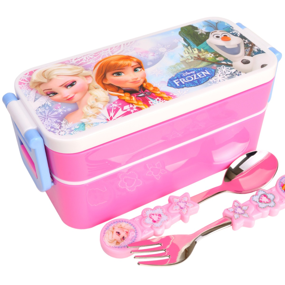 disney frozen lunch box kids girl school cute bento w fork spoon food container. Black Bedroom Furniture Sets. Home Design Ideas