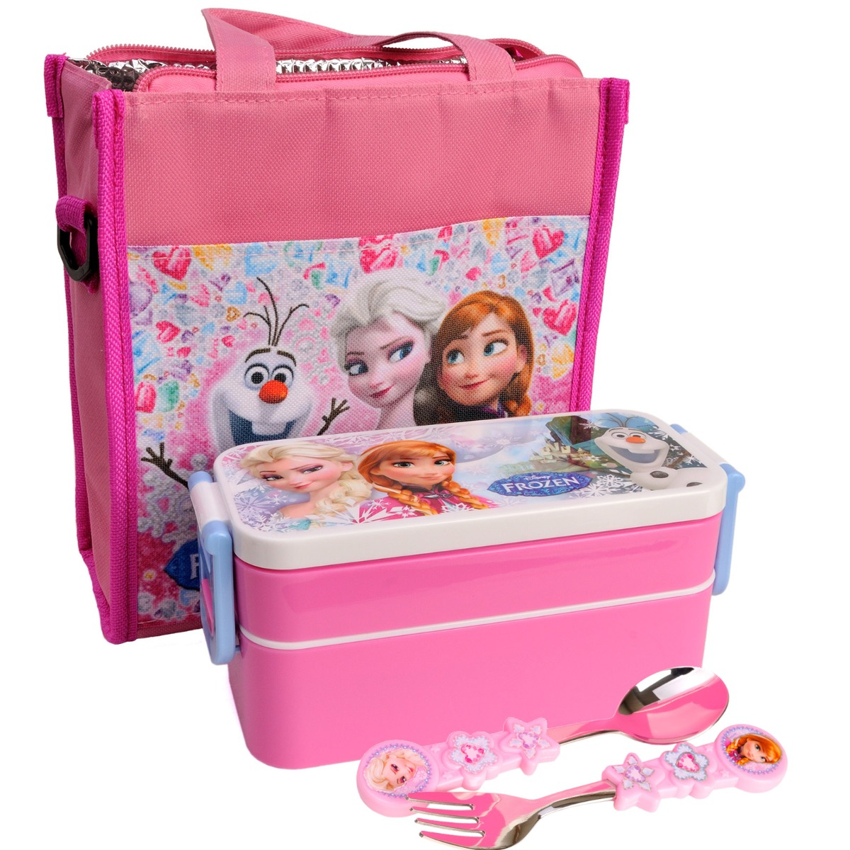 ... Frozen Girls Kids School Picnic Insulated Lunch Box Containers ICE Bag